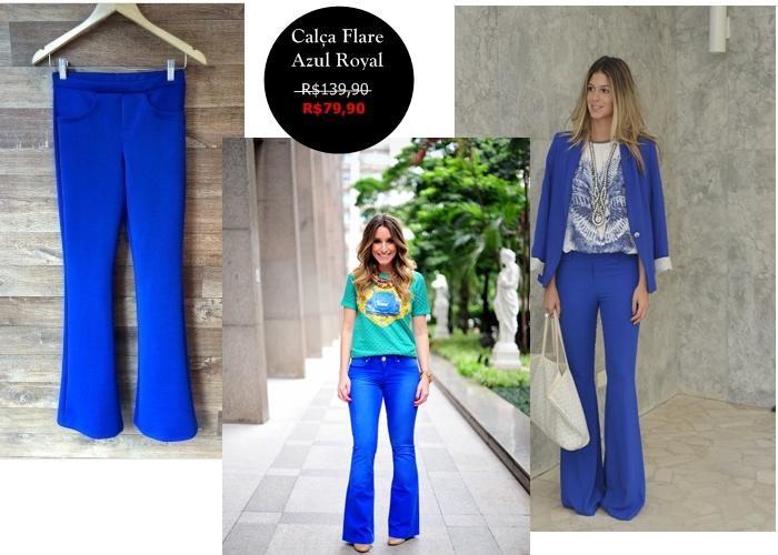calça flaire azul royal